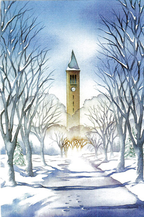 Cornell bell tower in snow
